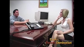 Blonde office slut dominates her future boss's cock until he cums