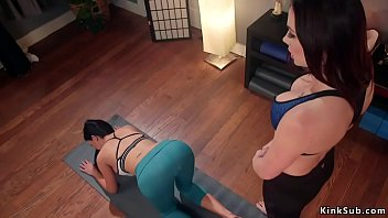 Busty lesbian Milf takes anal strap on