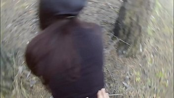 Man forced young girl with long hair sucking cock and fucking in the forest thumbnail