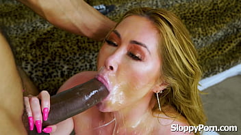 Busty MILF Kianna Dior interracial sloppy head