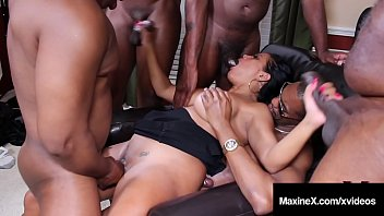 Gangbang by big black cock videos - Oriental orgy asian maxine x butt fucks with 6 black cocks