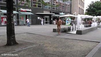 Brunette Babe Kira Nude In Public