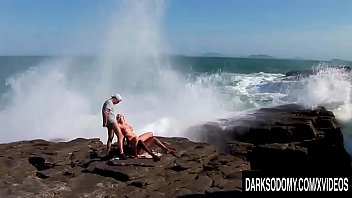 Big Boobs Blonde Tarra White Double Teamed and Ass Fucked by a Rocky Shore