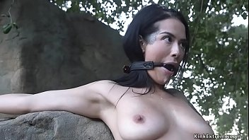 Bf whips bound gf outdoors