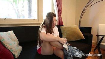 Yanks Amber Leigh Rubs Inside Her Sexy Pink Ruffled Panties