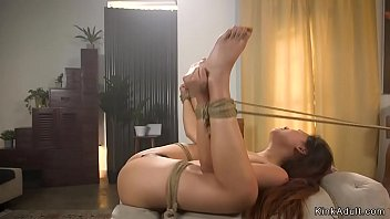 Bound petite Asian gets rough banged