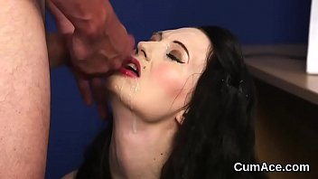 Cum on peaches - Frisky peach gets sperm shot on her face swallowing all the sperm