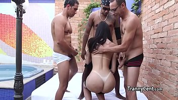 Guys gangbanged tanlined tranny ass