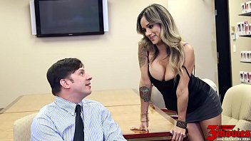 Office sex secretary Nadia styles a taste of his own medicine.