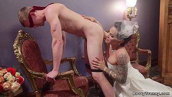 Shemale bride fucks groom and spanks