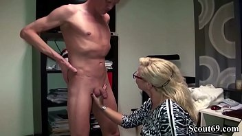 GERMAN MILF BOSS JENNY FUCK HUGE DICK GUY in Office