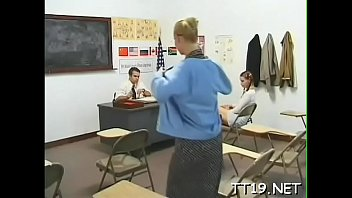 Tiny titted schoolgirl gives wet fellatio and rides dick
