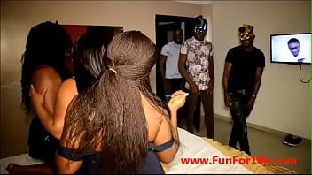 3 Nigerian sexy niggas catches 3 bad bitches as they were having a lesbian situation and pound the lesbian out of their pussies