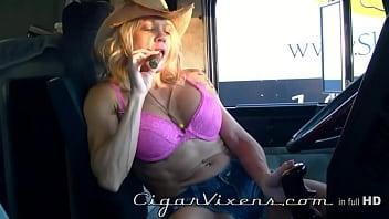 Bear cigar hairy masculine trucker Mandy k smokes a cigar
