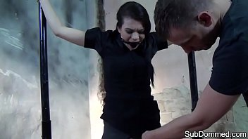 Ballgagged bdsm babe dominated and bound