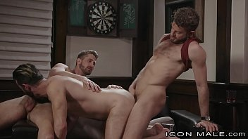 Gay hairy porn links Iconmale threesome for the new guy