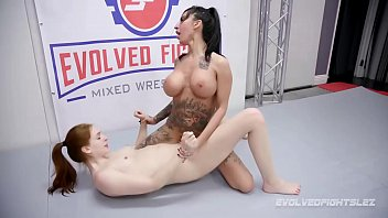 Lily Lane dominates Maya Kendrick in rough lesbian wrestling