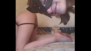 Russian Femdom Domina Fucks Strapon Submissive Femboy Sasha Earth