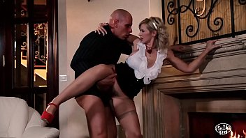 VIP SEX VAULT - Busty Pinup Blondie Barbara Nova Makes Love By The Fireplace