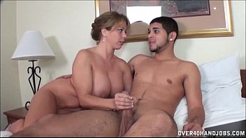 Mature moms helping sons jerk off - Naughty milf jerks off a naked young dude