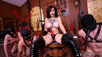 Fem dom strap on gang bang Femdom goddess gets off then ass fucks her slaves