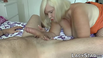 Thick white mature Blonde british gilf enjoys being pounded by two dicks