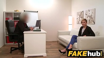 Fake Agent Short haired tattoo babe banged hard in the office