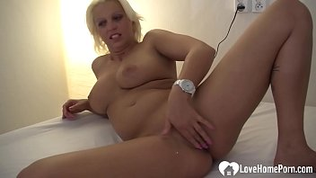 Hot girlfriend strips and fingers herself on cam