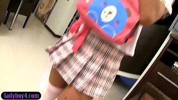 Asian ladyboy schoolgirl teen gets fucked in the ass