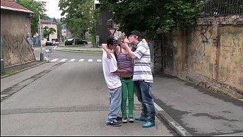 A teen superstar Alexis Crystal in PUBLIC street gangbang threesome