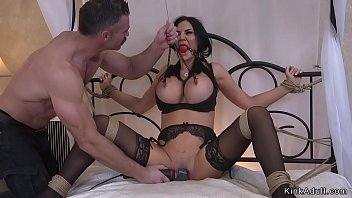 Huge tits babe in lingerie in bondage