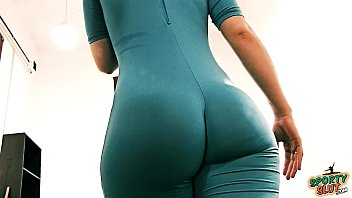 Bubble Butt Tiny Waist Teen Has Big Cameltoe In Lycra Bodysuit.