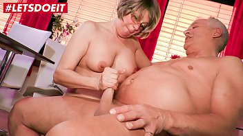 LETSDOEIT - Horny German Granny Literally Fucks The Guy Next Door