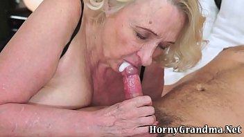 Old granny gives blowjob
