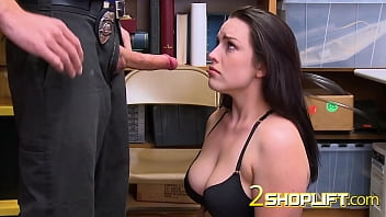 Raven is lied on the table and drilled by horny officer