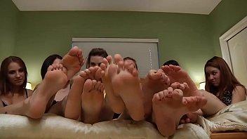 Five girls feet