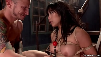 Big ass Asian anal fucked in bondage