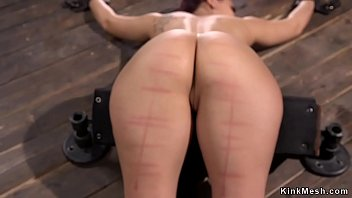 Bound babe ass and legs caned