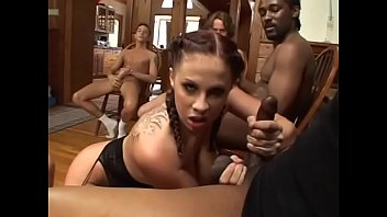 Naughty busty brunette Gianna Michaels needs to polish four knobs of well hung studs at one time to cheer up herself a little