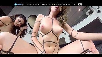 Sex with the robots Euro lesbian sluts get fucked in threesome by pov on badoink vr