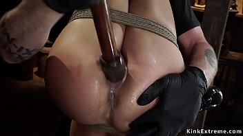 Tight bodied Latina sub toyed on hogtie