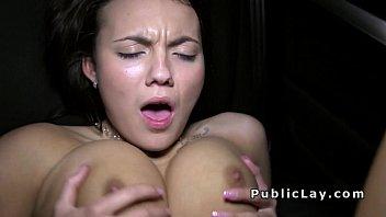 Huge tits beauty bangs in car in public for money