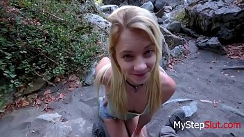 Blonde teen outdoor fuck with DADDY