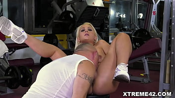 Young cutie Anina Silk charmed by old fart at the gym