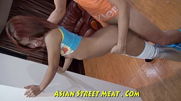 Fucks long legs - Silver leggings give good asian service