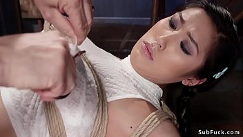 Busty Asian butt plugged in hogtie pornhub video