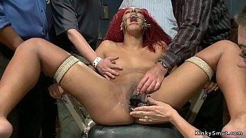 Ebony redhead gets fucked in public