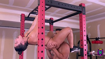 Big Ass brunette gets an intense anal fuck in the gym after abs routine.