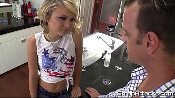 Teen domina pegging and punishing a sub