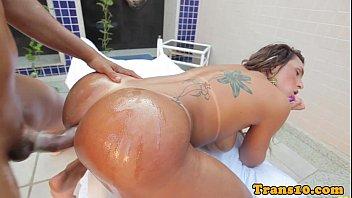 Tanlined brazilian tgirl assfucked poolside